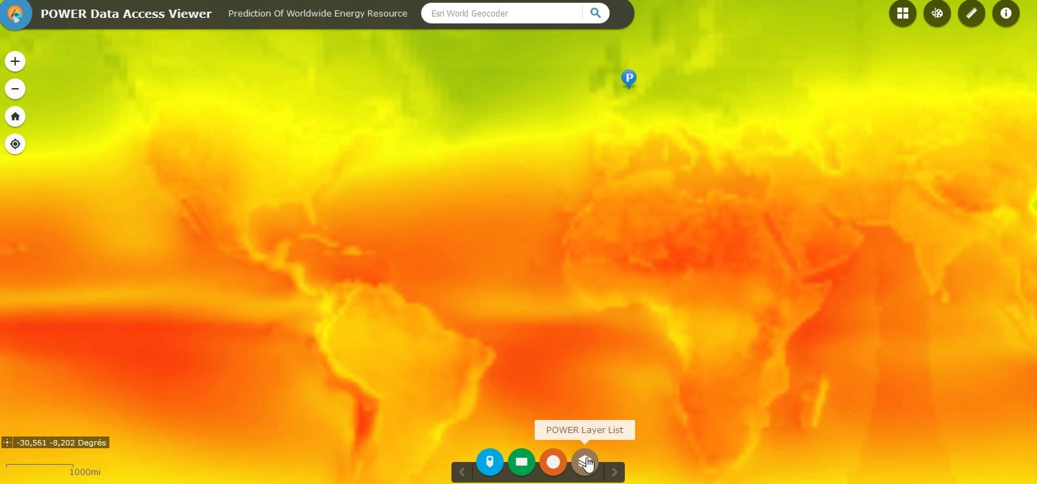 Worlwide irradiance map - solar radiation